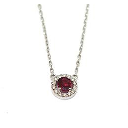 Gold Pendant: Red Ruby and Diamonds