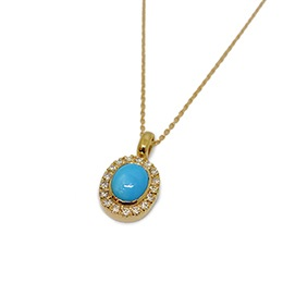Gold Pendant: Oriental Turquoise and Diamonds
