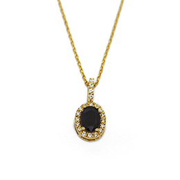 Gold Pendant: Oval Sapphire and Diamonds