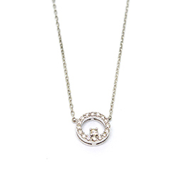 Gold Pendant: Circle of Diamonds