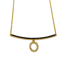 Gold Pendant: White and Black Diamonds