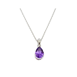 Gold Pendant: Amethyst and Diamond
