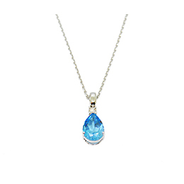 Gold Pendant: Blue Topaz and Diamond