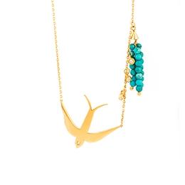 Gold Necklace: Bird and White Diamonds
