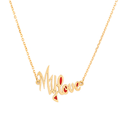 Gold Necklace: My Love with Red Enamel