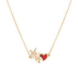 Gold Necklace: My Love Shape with Red Enamel