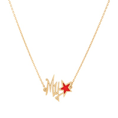 Gold Necklace: My Stars Shape with Red Enamel