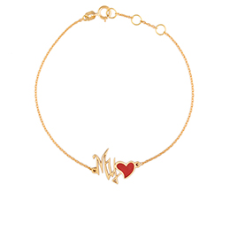 Gold Bracelet: My Love Shape with Red Enamel