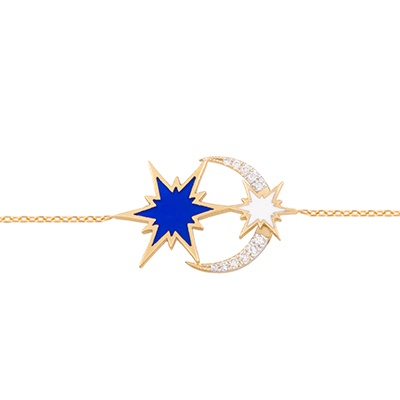Gold Bracelet: Moon wt Sparkle Blue Enamel Diamond