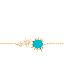 Gold Bracelet: Soleil Turquoise and White Enamel