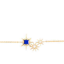 Gold Bracelet: Sparkle with Blue and White Enamel