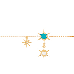Gold Bracelet: Sparkle,Blue White Enamel, Diamonds