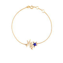 Gold Bracelet: My Star Shape, Blue Enamel