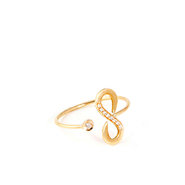 Gold Ring: Infinite with White Diamonds
