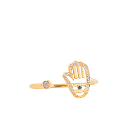 Gold Ring: Hand Shape with White Diamonds