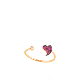 Gold Ring: Love Shape with White Diamonds