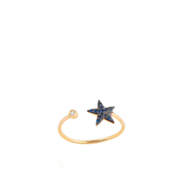 Gold Ring: Star Shape with White Diamonds
