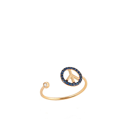 Gold Ring: Peace with white Diamond, Blue Sapphire