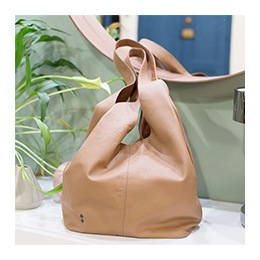 Bag: Leather Hobo, Camel Color