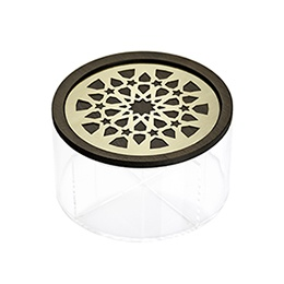 Round Box: Moucharabieh, Wood, Brass, Plexiglas