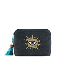 Pouch: Evil Eye, Jeans, Blue