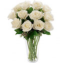 Flowers: 12 White Roses in a Vase (White Wishes)