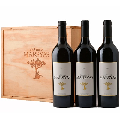 Wine:  Chateau Marsyas, 3 Bottles Red, Wooden Box