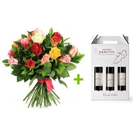Flowerss and Wine:  24 Roses + 3 Bottles Sanctus