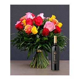 Flowerss and Wine:  24 Roses + 1 Bottle Ixsir EL