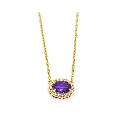 Gold Pendant: Amethyst and Diamonds