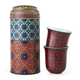 Tin Box + 2 Chaffe Coffee Cups Porcelain Vagabonde